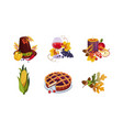 collection thanksgiving day holiday traditional vector image