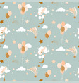 cute bapattern with balloons clouds and vector image vector image