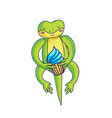 cute gecko holding cupcake vector image vector image