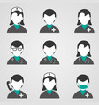 doctors and medical staff icons set vector image vector image