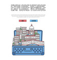 explore venice poster with open suitcase vector image vector image