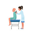 female doctor examining male patient with cancer vector image