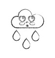 figure kawaii nice tender cloud raining vector image vector image