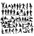 fitness and exercises sport activity silhouettes vector image vector image