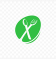 fork and spoon vegan cafe green food icon vector image