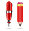 fountain pen and pencil red writing tools vector image vector image