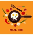Fried eegs with vegetables vector image