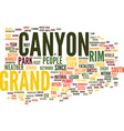 grand canyon text background word cloud concept vector image vector image
