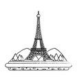 grunge eiffel tower with mountainsand trees vector image vector image