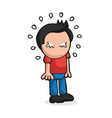 hand-drawn cartoon of man standing crying vector image