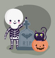 happy halloween with skeleton costume vector image vector image