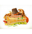 Happy Thanksgiving Invitation Greeting card 3d vector image vector image