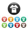 hip hop tshirt icons set color vector image vector image