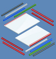 isometric document binding components and springs vector image