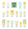 led light g9 bulbs colorful icon set vector image vector image