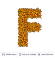 letter f sign of autumn leaves vector image