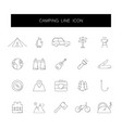 line icons set camping pack vector image vector image