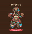 merry christmas greeting card in ginger man shape vector image vector image