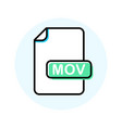 mov file format extension color line icon vector image vector image