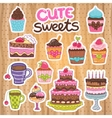 Muffin Cupcake pie cake tea set vector image vector image