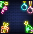 neon christmas new year background on wall vector image