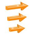 orange straight arrows web 3d shiny icons vector image vector image