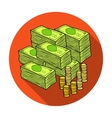 Piles of cash and coins icon in flat style vector image vector image