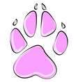 pink paw on white background vector image vector image