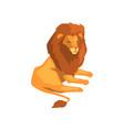 powerful lion wild predatory animal lying vector image vector image