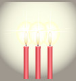 red wax candles isolated against white wall vector image