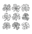 set hand drawn monochrome shamrock isolated on vector image vector image