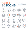 set line icons aircraft vector image vector image