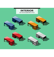 Set of office tables in isometric style vector image vector image