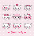 set with hand drawn cute cat faces vector image vector image