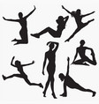silhouettes of woman fitness 1 vector image vector image