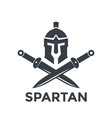 spartan logo template with helmet and swords vector image