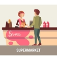 Supermarket store assistant cashier woman at cash vector image