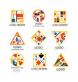 suprematism logo design set abstract creative vector image