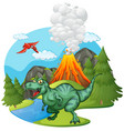 t-rex roaring by the volcano vector image vector image