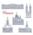 travel landmark of france thin line icon design vector image vector image
