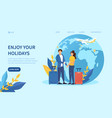 travelling concept with a caucasian couple vector image vector image