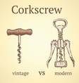 Vintage corkscrew versus modern vector image