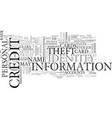 what is identity theft text word cloud concept vector image vector image