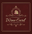 wine card menu design with hand drawn bunch of vector image vector image
