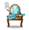 with guitar dressing table mascot cartoon vector image
