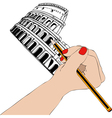 Woman draws the Colosseum in Rome vector image vector image