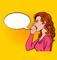 woman shouts pop art style vector image