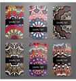 Set with business cards with ornamental pattern vector image