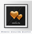 pair of 3d heart shaped golden air balloons vector image