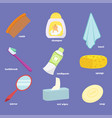 baby bathroom accessories icons set mirror towel vector image